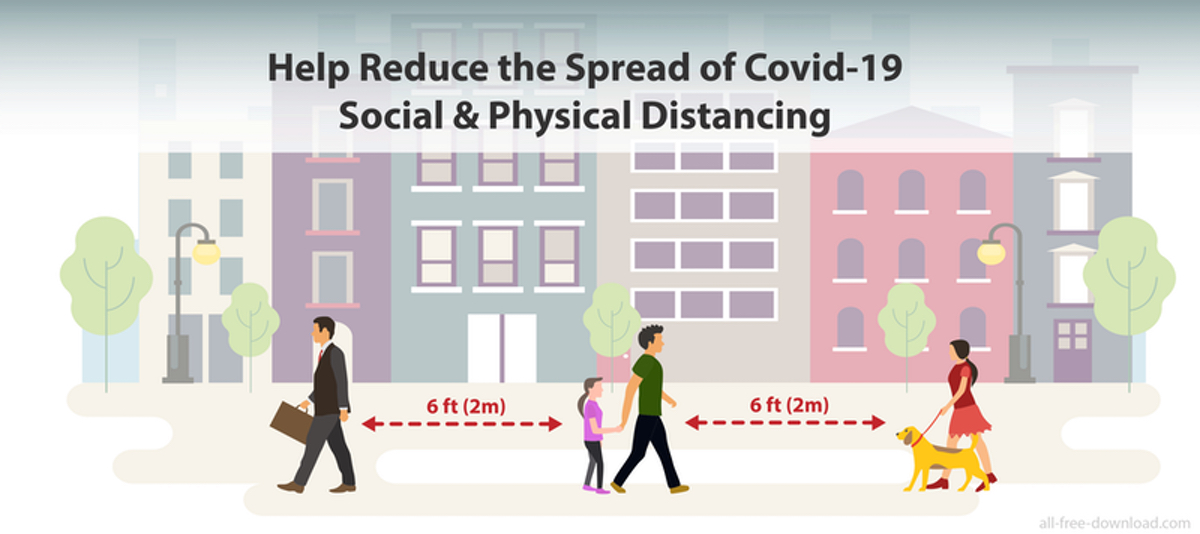 Help reduce the spread of covid-19 social & physical distancing Image created by Julia